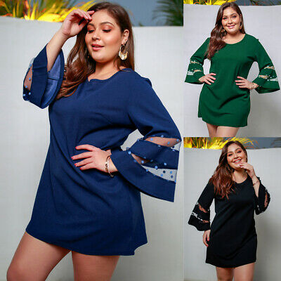 Sexy Mesh Women 3/4 Flare Sleeve Ladies Evening Party Mini Dress Casual Dress