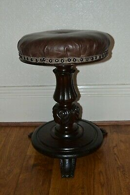 Piano Stool William IV Rosewood & Cow HideLeather Acanthus Carved C1830