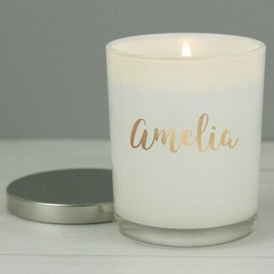 Personalised Gold Name Scented Jar Candle with Lid, Birthday Mothers Day For Her