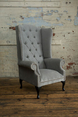 Modern Queen Anne Silver Grey Chesterfield Wing Arm Chair, Extra High Back
