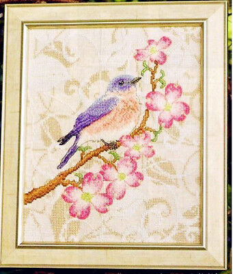 Handmade DMC linen finished cross stitch flowers and birds in spring home decor