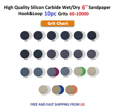 """High Quality Silicon Carbide Wet/Dry 6"""" Sandpaper Hook&Loop 10pc Grits 600-10000"""