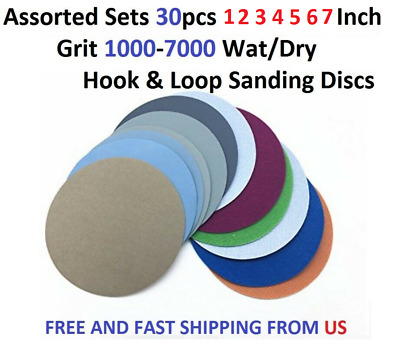 "Assorted Set 30pcs 1 2 3 4 5 6 7"" Grit 1000-7000 Wat/Dry Hook&Loop Sanding Discs"