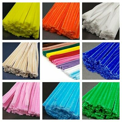 50 x PIPE CLEANERS - Jumbo Premium Craft Chenille Stems 300mm x 6mm - 25 Types