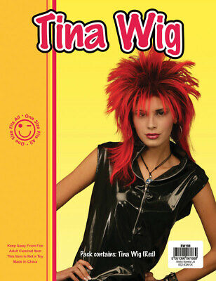 Tina Turner Red & Black 2 Tone Wig Rock Chick Rocker Messy Fancy Dress