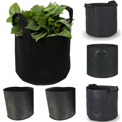 Black Grow Bags Fabric Pots Root Pouch with Handles Planting Container 5 Gallon