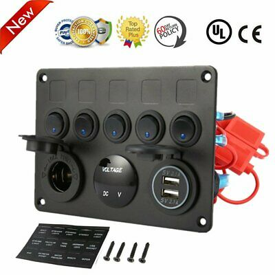 5 Gang ON-OFF Toggle Switch Panel 2 USB Charger 12V For Car Marine RV Boat LK