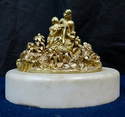Vintage Late 19th Century Figural Bronze & Marble Paperweight