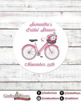 Floral Bicycle Round Personalized Bridal Shower or Bachelorette Sticker Labels