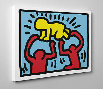 🎨 Quadro HARING Radiant Baby Poster Stampa su Tela Vernice Pennellate 🎨