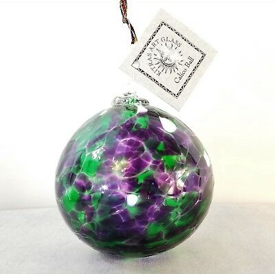 """Kitras Art Glass Calico Friendship Ball 5"""" Mother's Day Ornament Blown Glass"""