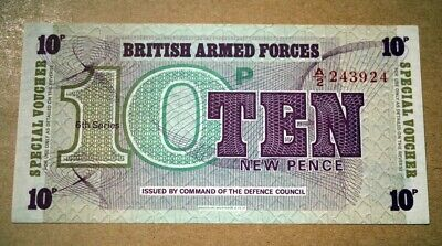 RARE British Armed Forces New Ten Pence 10p Voucher Bank Note A/2243924
