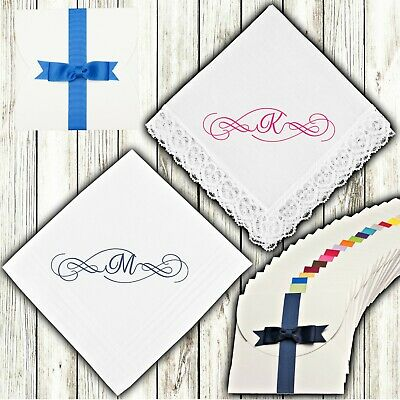 Monogram Initial Letter Personalised Embroidered Handkerchief Ladies Men's White
