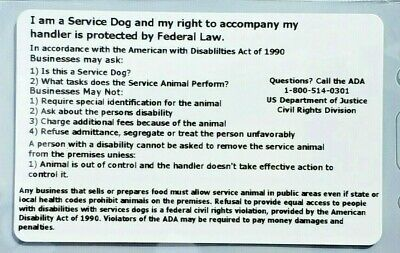 3 Professional Service Dog ADA ESA Card Tags Badges Wallet Airline Plastic ID