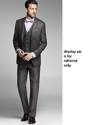 Three Piece Suit Wool 98% Charcoal Gray $444 EXPRESS Modern Fit