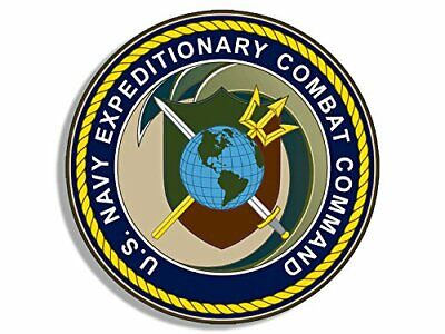 4x4 inch Round Navy Expeditionary Combat Command Seal Sticker (Logo US necc)