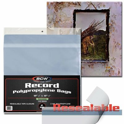 Pack of 100 BCW 33 RPM Resealable SNUG Fit Record Album 2-Mil Clear Poly Bags
