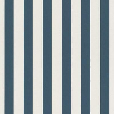 Bambino Navy Blue and White Stripe Wallpaper by Rasch 246049