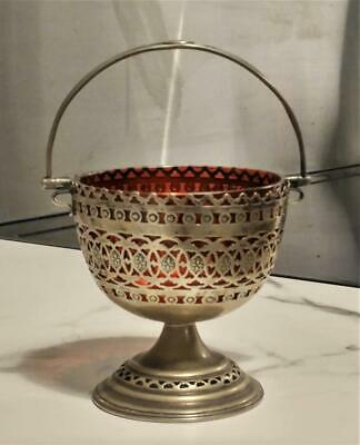 Antique Silver Plated Reticulated Bon Bon Dish / Sugar Bowl with Cranberry Liner