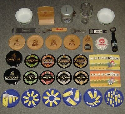 Lot Bier items - Leffe - Gouden Carolus - Duvel - La Chouffe - Chimay - Bavaria