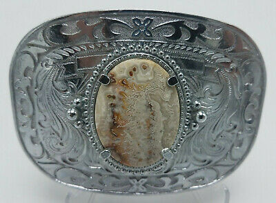 """Vintage Silver Tone LARGE Belt Buckle with Polished stone 4""""x 3"""" FREE SHIPPING"""