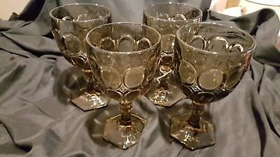 """4  Fostoria MOONSTONE 6 1/2"""" TAUPE BROWN Goblets Glasses hexagon foot"""