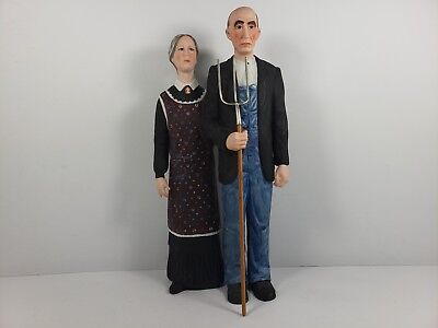 Vintage 1981 Grant Wood's American Gothic 10' Hand Painted Porcelain Statue