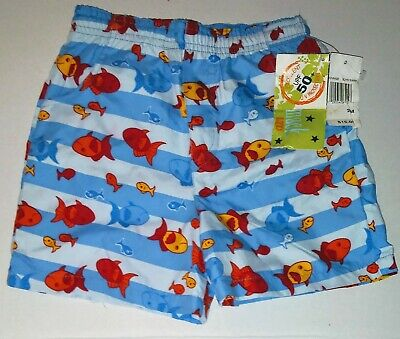 89a47263ad NWT Mick Mack Boys Infant Toddler Blue Fish Print Swim Trunks Shorts Size  24M