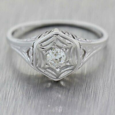 1930's Antique Art Deco 14K White Gold 0.20ctw Diamond Wedding Band Ring