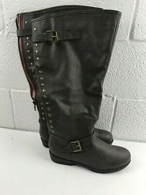 e41d78c995f Journee Collection Women s Wide Calf Studded Knee-High Boots Grey Size 11
