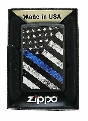 7384d647214d Zippo Custom Lighter Blue Line Police Support USA Flag Black Matte New in  Box