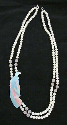 Vintage Dyed Mother Of Pearl Shell Parrot Bird Beaded Necklace Designer Sandee