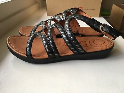 7bb0794957b1 Fitflop 9 Black Leather Strata Gladiator Whipstitch Sandals Cushioned New  In Box