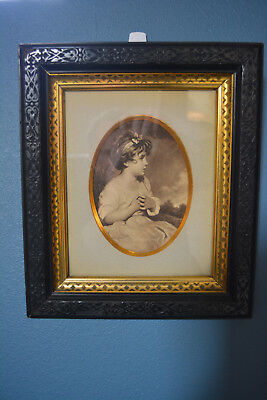Antique Fab Rare Large Victorian Gutta Percha Picture Frame Gold Lining Oval Mat