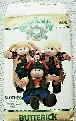 """6826 Sewing Pattern~Uncut 1984~Cabbage Patch Kids~16""""Cowboy&Cowgirl Doll Clothes"""