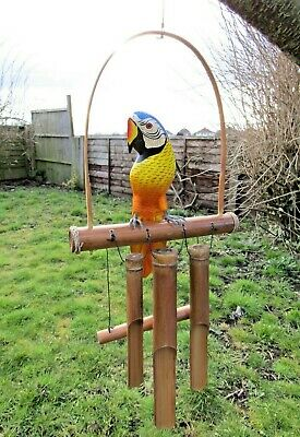 Hand Made Carved Wooden Parrot On Perch Bamboo Windchime Wind Chime Mobile