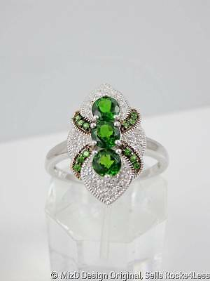 Art Deco Russian Chrome Diopside and White Zircon Sterling Ring - Sz 12