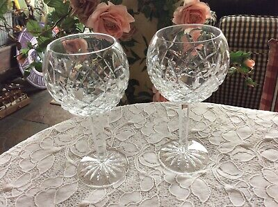 Lot of 2 Waterford Lismore 8 Oz. Crystal Wine Glasses Stems Balloon Hocks 7-1/4""