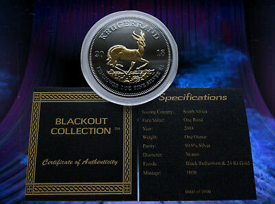 2018 1 Oz Silver Coin Krugerrand Africa Black Ruthenium-24Kt Blackout Collection