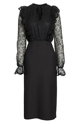 84c3a600db38 NWT! VALENTINO BLACK Lace Bodice Sheath Dress, Sz 10 - $1,780.00 ...