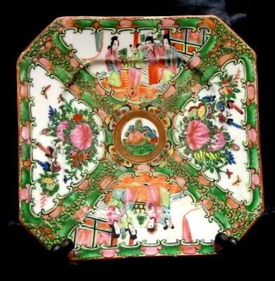 Antique Cantonese Hand Painted Famille  Rose Square Oriental Wall  Plate  Rare !