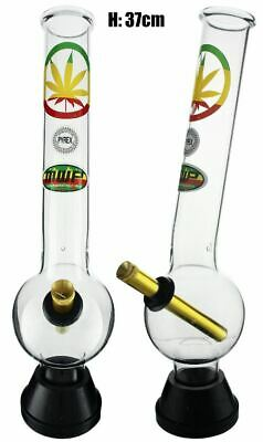 XLarge Glass Bonza Bubble Rasta Leaf 37cm Bong Waterpipe Hookah Water Pipe