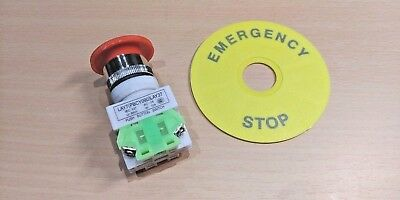 660V 10A Red Emergency Stop Mushroom Push Button Switch / Kill Switch (DPST)