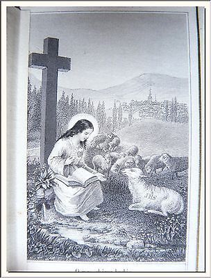 "ANTIQUE 1870's ""THE CORRAL of JESUS CHILD"" FRENCH DOUBLE CANIVET LACE HOLY CARD"