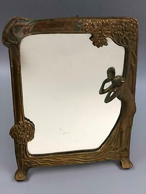 Vintage Antique Brass Art Nouveau Lady Mirror