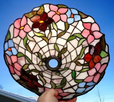 Antiques Shades Antique Vintage Leaded Stained Slag Art Glass Lamp Shade Vines Foliage Pattern