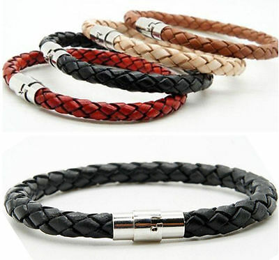 1Pcs Unisex Women Men Braided Leather Steel Magnetic Clasp Bracelet Handmade