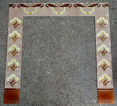 A. MEAKIN - ENGLAND - ANTIQUE ART NOUVEAU 19 ORIGINAL TILES FOR FIREPLACE c1900