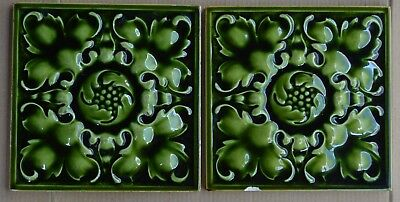 2 England Pilkingtons Antique Art Nouveau Majolica Tile C1900