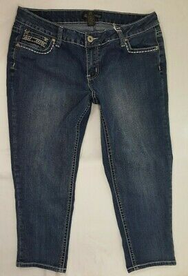 (*-*) LOVE INDIGO * Capri Blue Jeans Denim * Womens Size 16 EXCELLENT